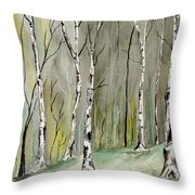 Birches Before Spring Throw Pillow