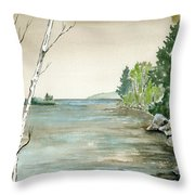 Birches By The Lake Throw Pillow