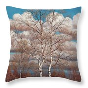 Birches In The Spring Throw Pillow