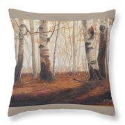 Birches Throw Pillow by Jan Byington