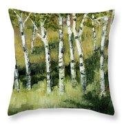 Birches On A Hill Throw Pillow