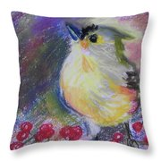 Bird And Berries Throw Pillow