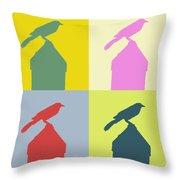 Bird At The Top - Abstract Art Throw Pillow