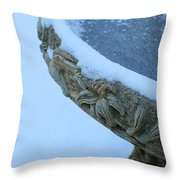 Bird Bath In The Snow Throw Pillow