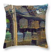 Bird Cages Vintage Photo Indonesia Throw Pillow