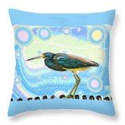Bird Contemplates The Cosmos Throw Pillow