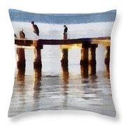 Bird Dock At Sunset Throw Pillow
