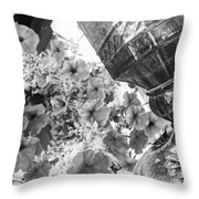 Bird Feeder And Flowers Throw Pillow