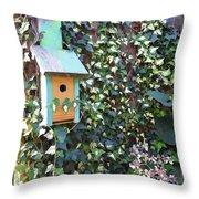 Bird Feeder In Ivy Throw Pillow