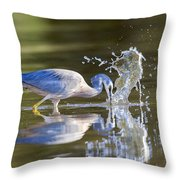 Bird Fishing In Lake Throw Pillow