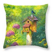 Bird House And Bluebird  Throw Pillow