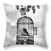 Bird In A Cage-black Throw Pillow