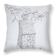 Bird In A Line Throw Pillow