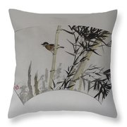 Bird In Bamboo- Fan Painting Throw Pillow