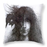 Bird In Hair  Throw Pillow