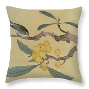 Bird In Loquat Tree Throw Pillow