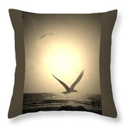 Bird In The Sunset Throw Pillow
