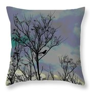 Bird In Tree Silhouette Iv Abstract Throw Pillow