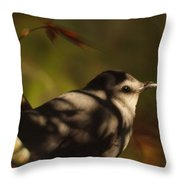 Bird In Tree With Young Leaf Throw Pillow