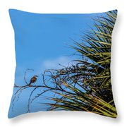 Bird On A Palm Branch Throw Pillow