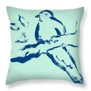 Bird On Branch In Blue Throw Pillow