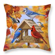 Bird Painting - Autumn Aquaintances Throw Pillow by Crista Forest