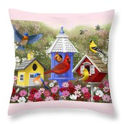Bird Painting - Primary Colors Throw Pillow by Crista Forest