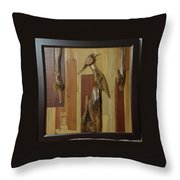 Bird Painting With Wooden Waste Throw Pillow