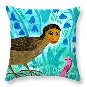 Bird People Blackbird And Worm Throw Pillow