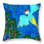 Bird People Green Woodpecker Throw Pillow by Sushila Burgess