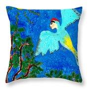Bird People Green Woodpecker Throw Pillow