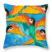 Bird People Little Green Bee Eaters Of Upper Egypt Throw Pillow