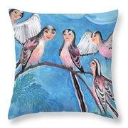 Bird People Long Tailed Tits Throw Pillow