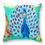 Bird People Peacock King And Peahen Throw Pillow
