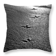 Bird Prints In The Sand Black And White Throw Pillow