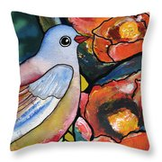 Bird With Prickly Pear Cactus Flowers Throw Pillow