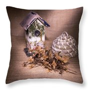 Birdhouse And Beehive 2 Throw Pillow
