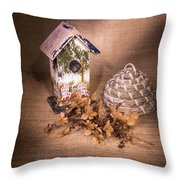Birdhouse And Behive 1 Throw Pillow