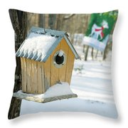 Birdhouse And Deer Flag Throw Pillow