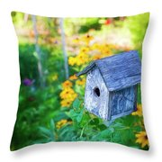 Birdhouse And Flowers Throw Pillow
