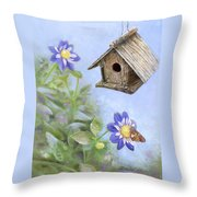 Birdhouse In A Country Garden Throw Pillow