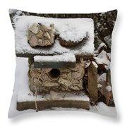 Birdhouse In The Snow Throw Pillow