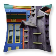 Birdhouses For Colorful Birds 2 Throw Pillow