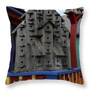 Birdhouses For Colorful Birds 4 Throw Pillow