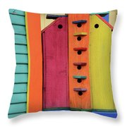 Birdhouses For Colorful Birds 5 Throw Pillow