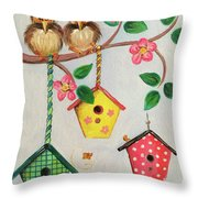 Birds And Birdhouse Throw Pillow