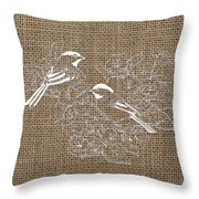 Birds And Burlap 2 Throw Pillow