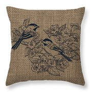 Birds And Burlap 1 Throw Pillow