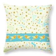 Birds And Daisies Throw Pillow