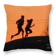 Birds And Fun At Butler Park Austin - Jogging - Sunset Run Throw Pillow